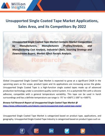 Unsupported Single Coated Tape Market Applications, Sales Area, and its Competitors By 2022