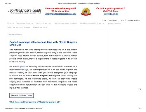 Plastic Surgeons Email Addresses - Top Healthcare Leads
