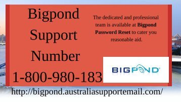 Bigpond Support Number 1-800-980-183 |Obtain Solution