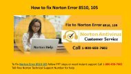 Fix Norton Error Code 8510 105 Call 1-800-658-7602 for Help