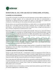 ADENEX se suma a la petición de Moratoria del AVE