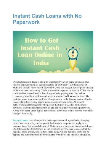 Payday Loans For Very Bad Credit >> Instant Cash Loans with No Paperwork in India
