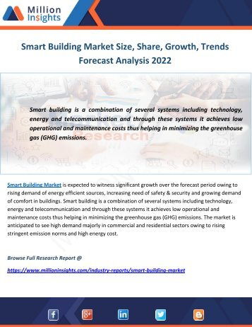 Smart Building Market Size, Share, Growth, Trends Forecast Analysis 2022