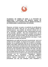 Plasencia en Común se suma a la petición de moratoria  y auditoría del modelo AVE en España.