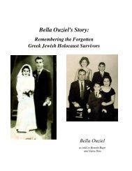 Bella's Story: Remembering the Forgotten Greek Jewish Holocaust Survivors