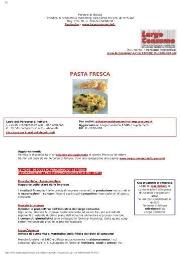 Il mercato Italia della pasta fresca: produzione ... - Largo Consumo