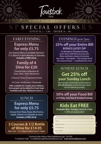 Express Menu for only £5.75 - Tavistock Leisure