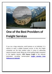 One of the Best Providers of Freight Services