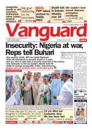 13072018 - Insecurity: Nigeria at war, Reps tell Buhari