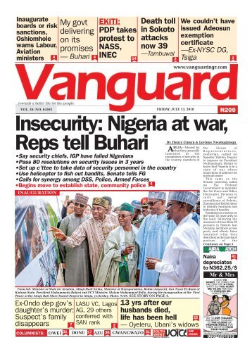 13072018 - Insecurity: Nigeria at war, Reps tell Buhari