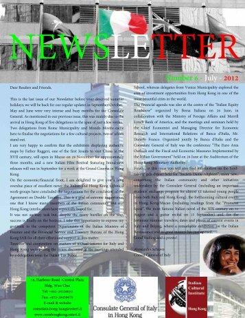 Number 6 -July -2012 - Consolato generale d'Italia a Hong Kong