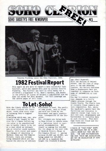 1982 Festival Report - The Soho Society