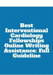 Best Interventional Cardiology Fellowships Online Writing Assistance: Full Guideline