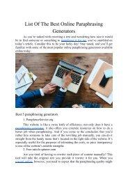 List of The Best Online Paraphrasing Generators