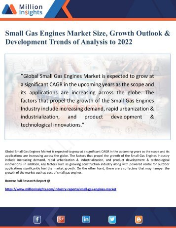 Small Gas Engines Market Size, Growth Outlook & Development Trends of Analysis to 2022