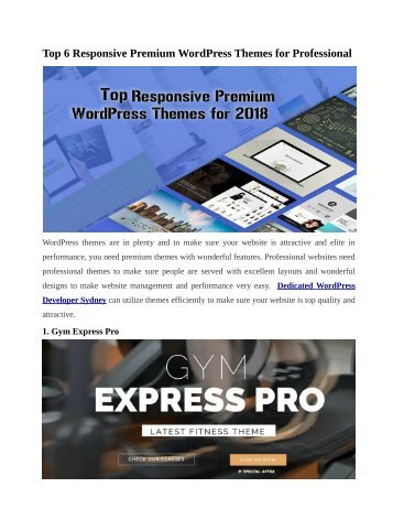 Top 6 Responsive Premium WordPress Themes for Professional