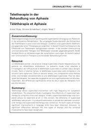Studien TeleTherapie in der Behandlung von Aphasie Rupp Schupp