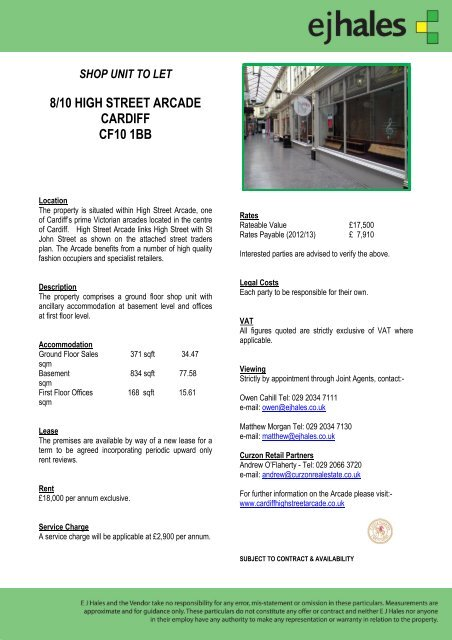 shop unit to let 8/10 high street arcade cardiff cf10 1bb