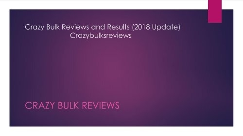 Crazy Bulk Reviews (2018 UPDATE): Your Ally For Your Fitness Goals