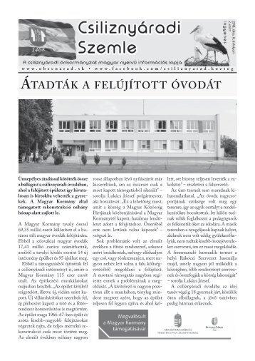 Csiliznyáradi Szemle - Csiliznyárad község információs lapja - 2018. június, 3. évfolyam, 2. szám