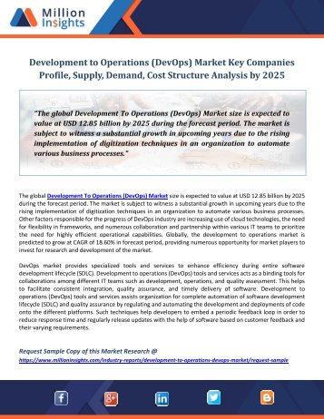 Development to Operations (DevOps) Market Key Companies Profile, Supply, Demand, Cost Structure Analysis by 2025
