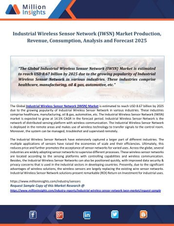 Industrial Wireless Sensor Network (IWSN) Market Production, Revenue, Consumption, Analysis and Forecast 2025