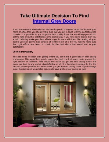 Take Ultimate Decision To Find Internal Grey Doors
