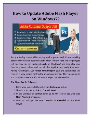 How to Update Adobe Flash Player on Windows7?