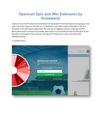 Opencart Spin and Win Newsletter popup extension by Knowband