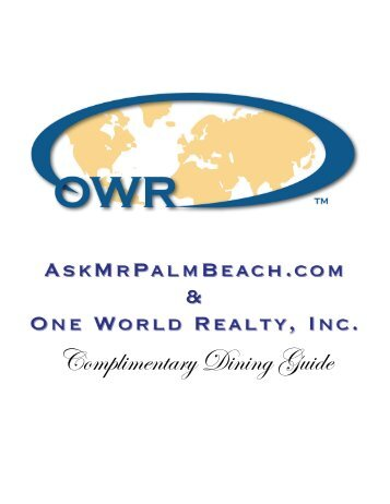 Complimentary Dining Guide - AskMrPalmBeach