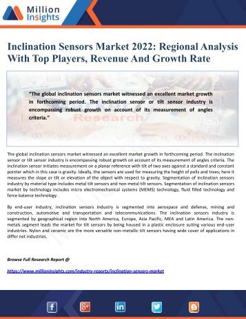 Inclination Sensors Market 2022 - Regional Analysis With Top Players, Revenue And Growth Rate