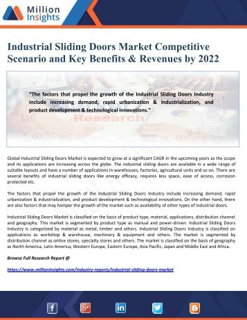Industrial Sliding Doors Market Competitive Scenario and Key Benefits & Revenues by 2022