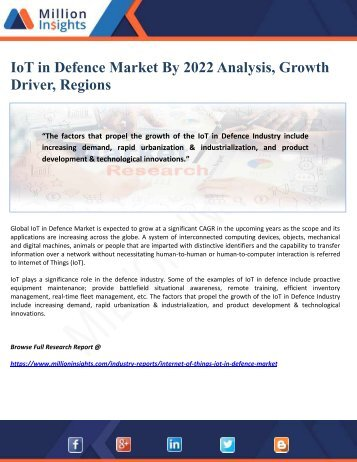 IoT in Defence Market By 2022 Analysis, Growth Driver, Regions