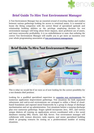 Brief Guide To Hire Test Environment Manager