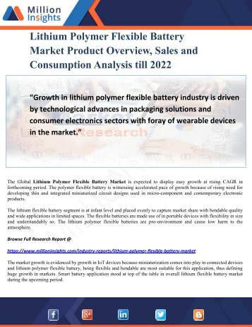 Lithium Polymer Flexible Battery Market Product Overview, Sales and Consumption Analysis till 2022