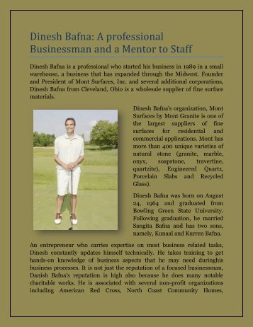 Dinesh Bafna A professional Businessman and a Mentor to Staff