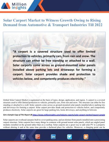 Solar Carport Market to Witness Growth Owing to Rising Demand from Automotive & Transport Industries Till 2022