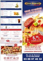 La carte - Pizza Express Molsheim