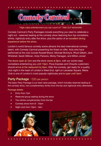 Party Package - £20 per person - Comedy Carnival