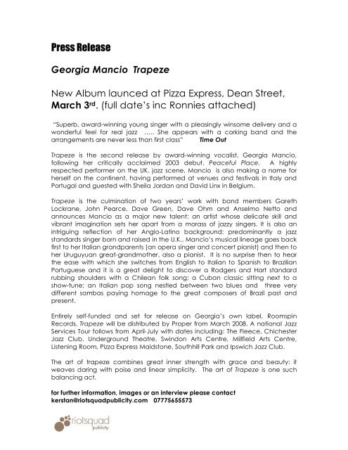 Georgia Mancio Trapeze Riot Squad Publicity