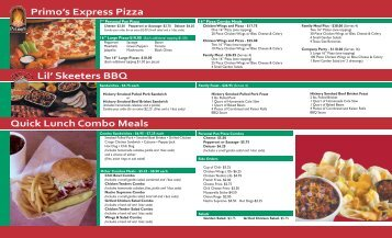 Lil' Skeeters BBQ Quick Lunch Combo Meals Primo's Express Pizza