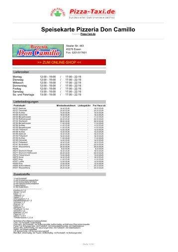 Pizzeria Don Camillo in 45276 Essen, Steeler Str. 463 - Pizza Taxi