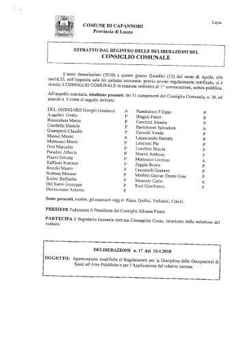 ESTRATTO DAL REGISTRO DELLE DELIBERAZIONI DEL ...