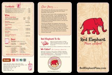 Our Story . . . - Red Elephant Pizza and Grill