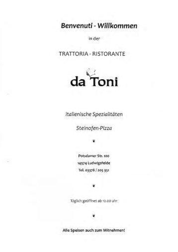 speisen & getränkekarte download - da Toni