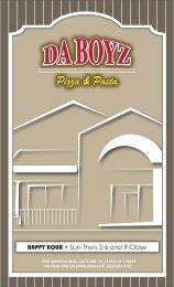 MENU COVER - Da Boyz Pizza & Pasta