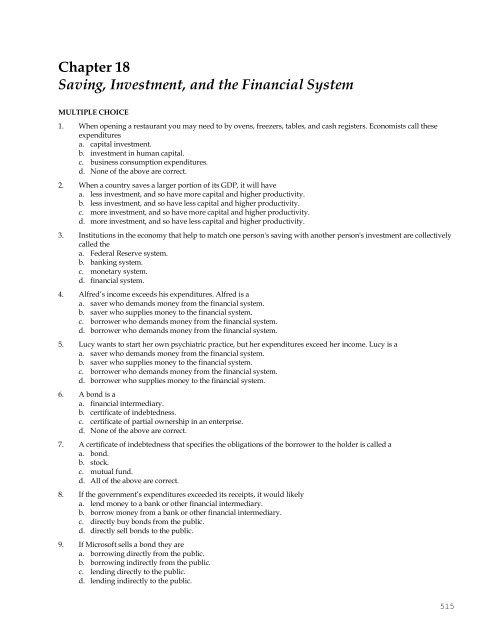 Chapter 18 Saving Investment And The Financial System