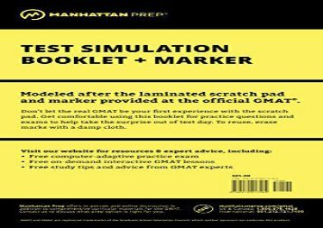 [+][PDF] TOP TREND Manhattan GMAT Test Simulation (Manhattan Prep GMAT Strategy Guides)  [DOWNLOAD]