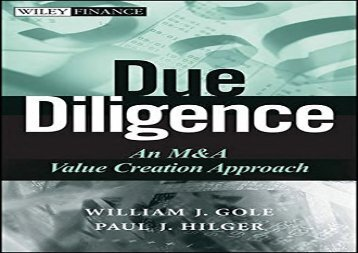 [+]The best book of the month Due Diligence: An M A Value Creation Approach (Wiley Finance)  [READ]