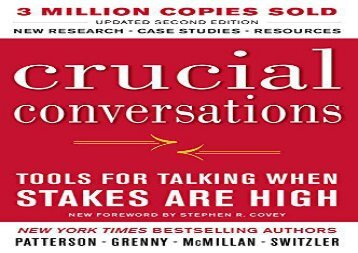 [+][PDF] TOP TREND Crucial Conversations Tools for Talking When Stakes Are High, Second Edition [PDF]